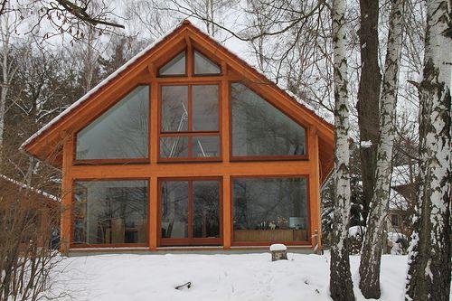 Glasgiebel Einfamilienhaus im Holzrahmenbau - Zimmerei Walther Dresden / Pirna