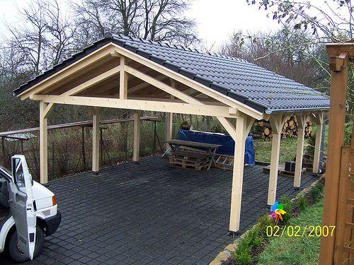 Neubau Carport inklusive Dacharbeiten mit Rubin 13 der Firma Braas - Zimmerei Walther Dresden / Pirna