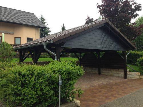Doppelcarport mit Schiefergiebel, Steildach inkl. Dacharbeiten und Klempnerarbeiten.
